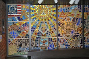 The stained glass window at the Scottish Rite Museum